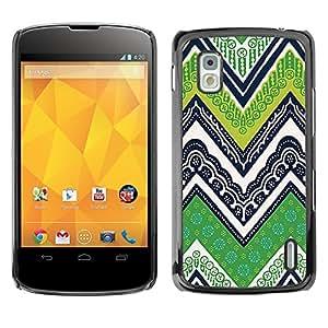 TopCaseStore / la caja del caucho duro de la cubierta de protección de la piel - Lines M W Green - LG Google Nexus 4 E960