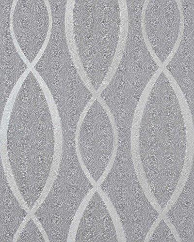 Retro Tapete EDEM 1018-16 Retrotapete Designer Linien mit Ornamenten 70er Retro Style dezent glitzernd grau silber mittelgrau
