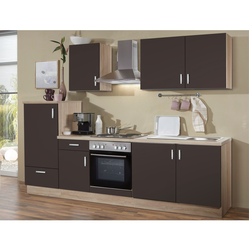 Litra L Küche Lava matt / Eiche sonoma 270 x 60 cm inkl. Edelstahlherd, Kühlschrank, Dunstesse und Spüle fertig montiert