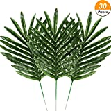 #9: Hicarer 30 Pieces Palm Leaves Fake Tropical Leaf Artificial Leaves Decoration Fake Monstera Tropical Leaves