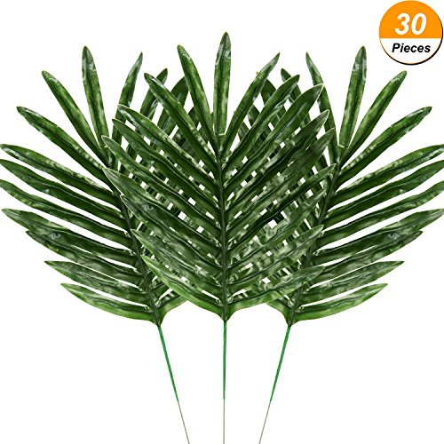 Hicarer 30 Pieces Palm Leaves Fake Tropical Leaf Artificial Leaves Decoration Fake Monstera Tropical Leaves by Hicarer