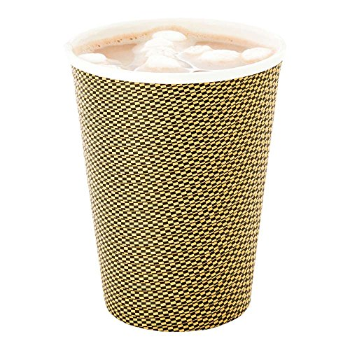 - 500-CT Disposable Mocha Pin Check 12-oz Hot Beverage Cups with Spiral Wall Design: No Need for Sleeves - Perfect for Cafes - Eco Friendly Recyclable Paper - Insulated - Wholesale Takeout Coffee Cup