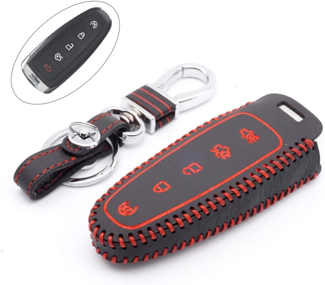 WFMJ Black Leather 4 Buttons Remote Smart Key Chain Cover Case for Ford Expedition F150 F250 F350 Mustang Edge Explorer Flex Focus Taurus X