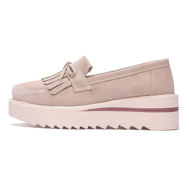 Amazon.com | TRULAND Womens Suede Leather Slip-on Comfort Wedge Platform Fringe Moccasins | Loafers & Slip-Ons