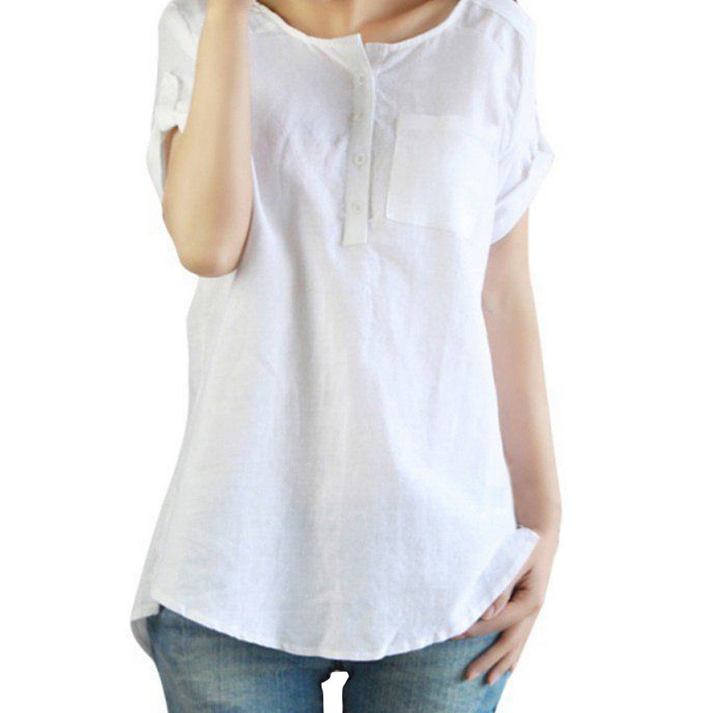 AMOFINY Women Casual Cotton Linen Shirt Short Sleeve Loose Blouse Top Plus Size