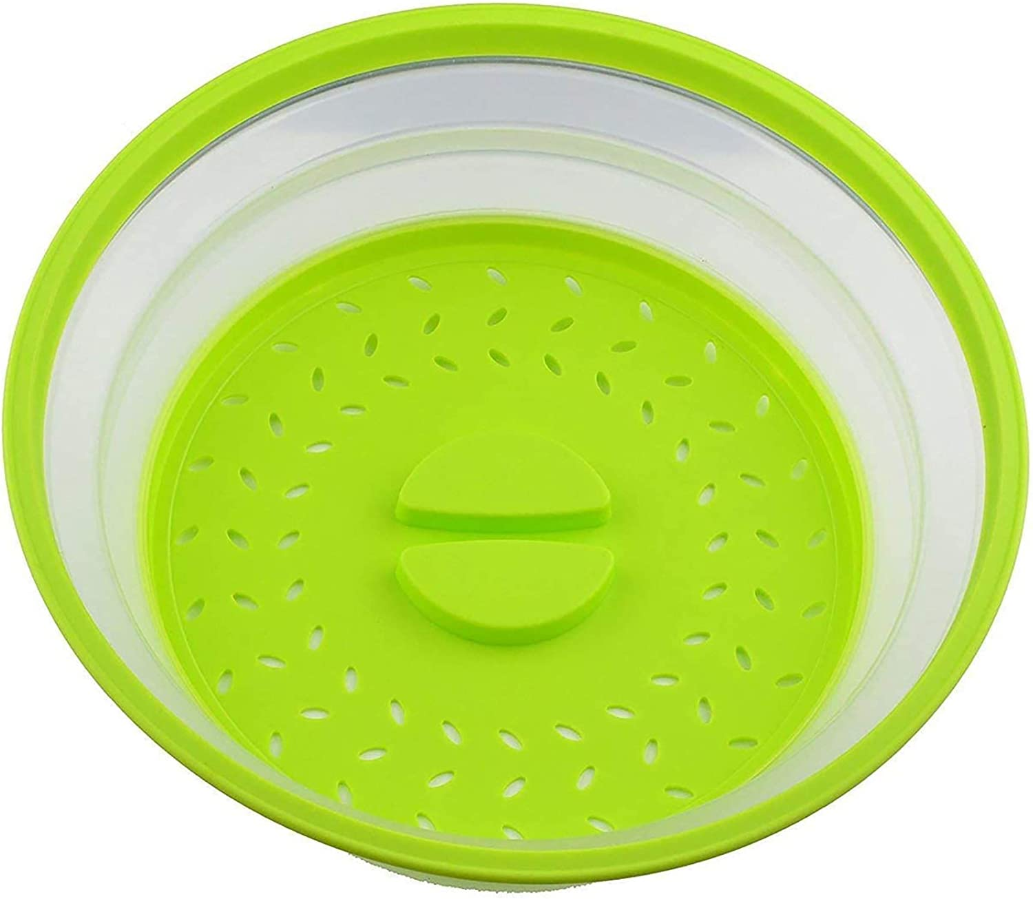 2Pcs JIUKE Vented Collapsible Microwave Cover for Food,Splatter Proof Guard Plate,Multipurpose Fruit and Vegetable Dish Drainer Basket,Easy Grip Dishwasher Safe,BPA-Free Silicone /& Plastic