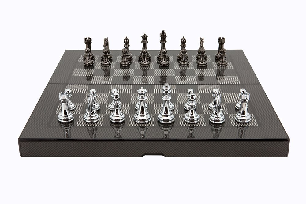 L2046DR Dal Rossi Italy Carbon Fiber Finish Folding Chess Set, 16'' by Dal Rossi Italy