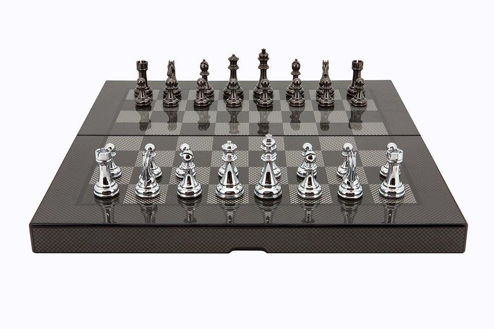 L2046DR Dal Rossi Italy Carbon Fiber Finish Folding Chess Set, 16''