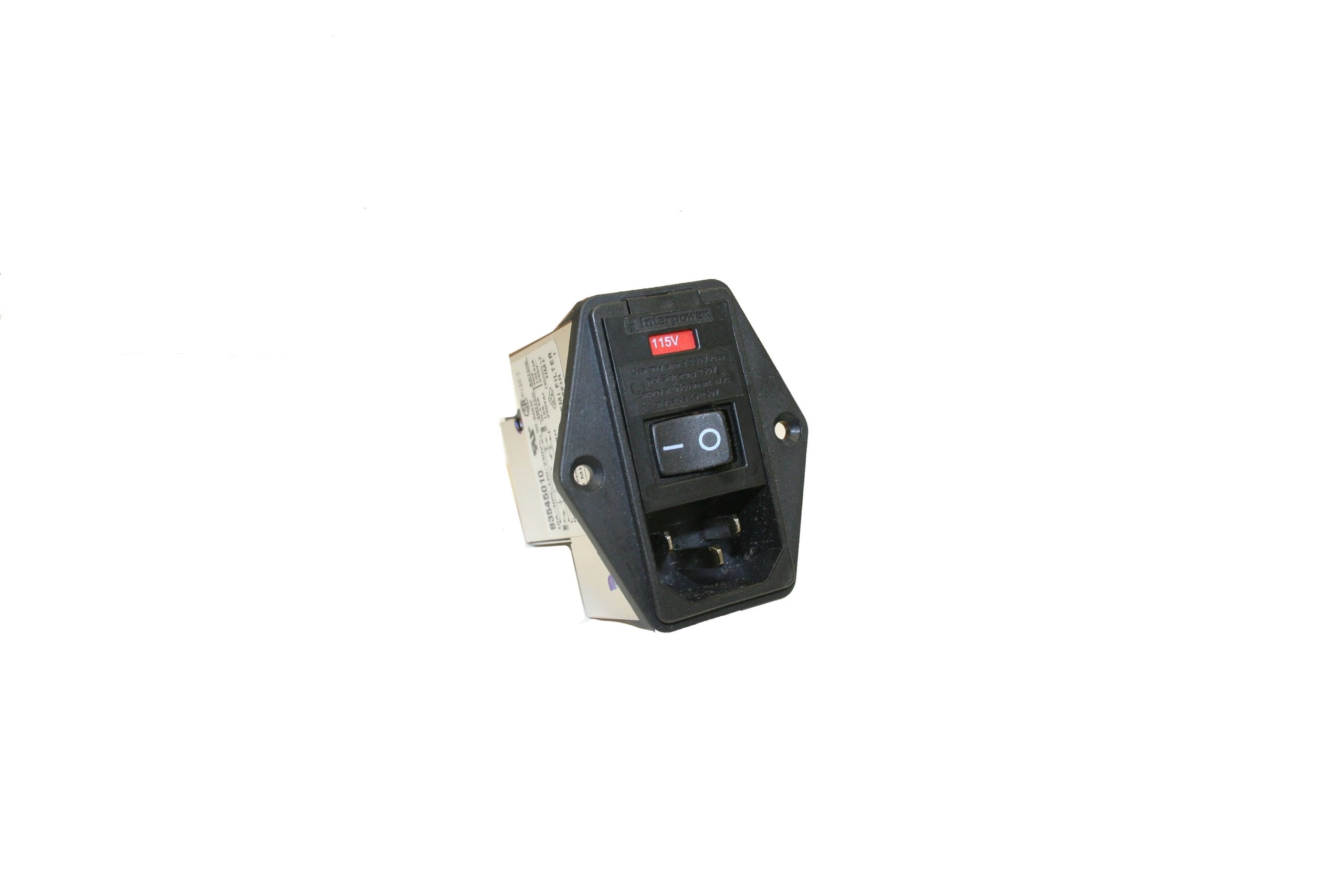 Interpower 83545010 Five Function Screw Mount Module, C14 Inlet, Switch, Double Fused, Voltage Selector, Filter, 10A Current Rating, 120/250VAC Voltage Rating