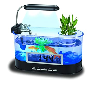 Suna Mini Acuario Desktop USB Aquarium Pet Aquarium (Negro ...