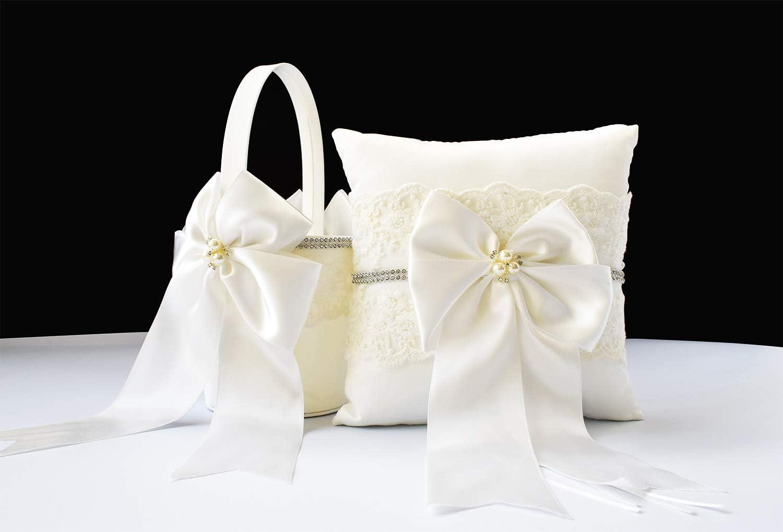 Flower Girl Basket Set NEXT DAY SHIPPING White Ivory Large with Bows Flower Girl Basket  Ring Bearer Pillow