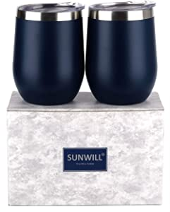 SUNWILL Insulated Wine Tumbler with Lid Navy Blue 2 pack, Double Wall Stainless Steel Stemless Insulated Wine Glass 12oz, Durable Insulated Coffee Mug, for Champaign, Cocktail, Beer, Office