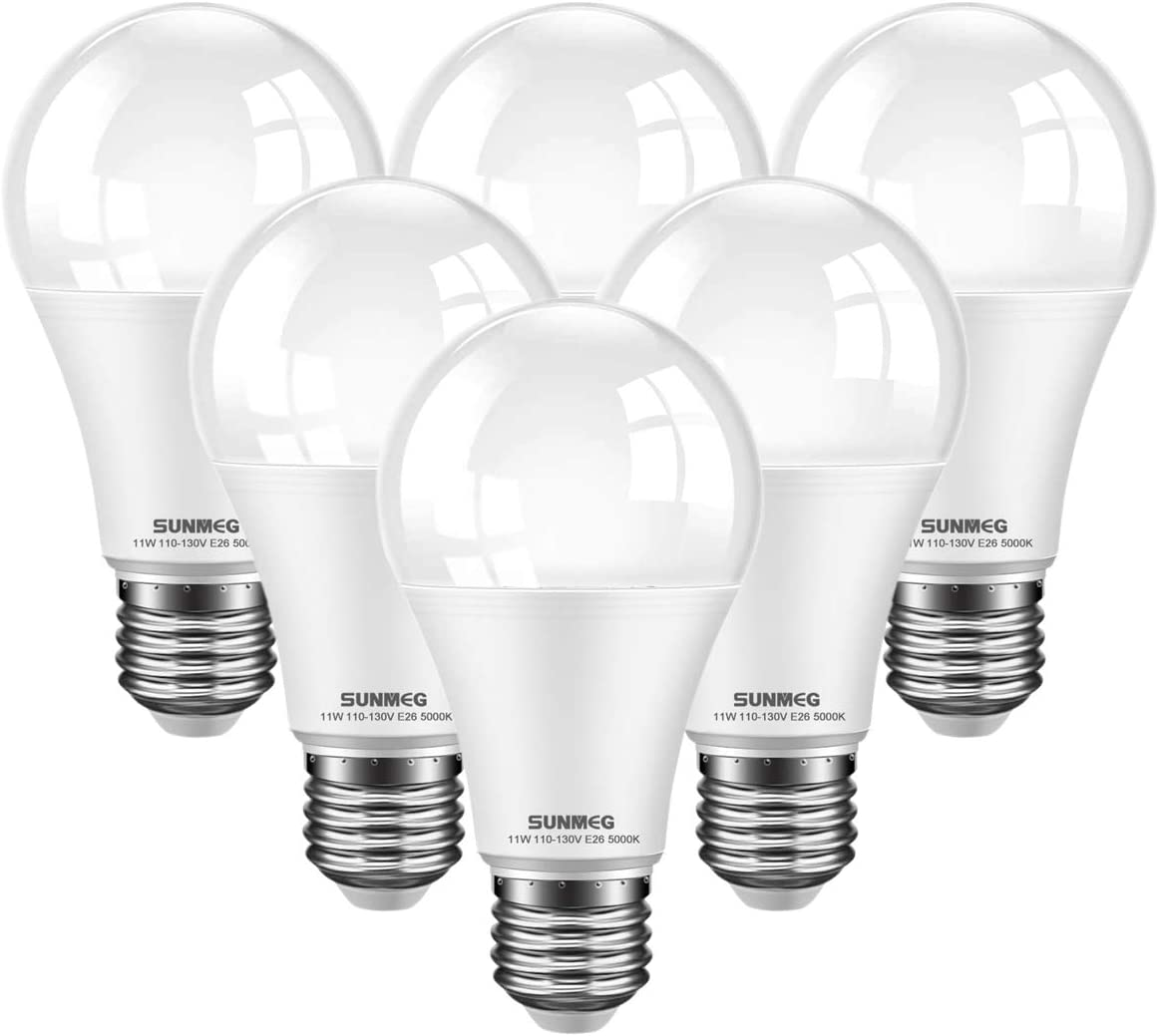 6 Pack Sunmeg A60 Led Light Bulb 100 Watt Equivalent 15w E26 Led Bulbs 1050 Lumens Daylight 5000k 120vac