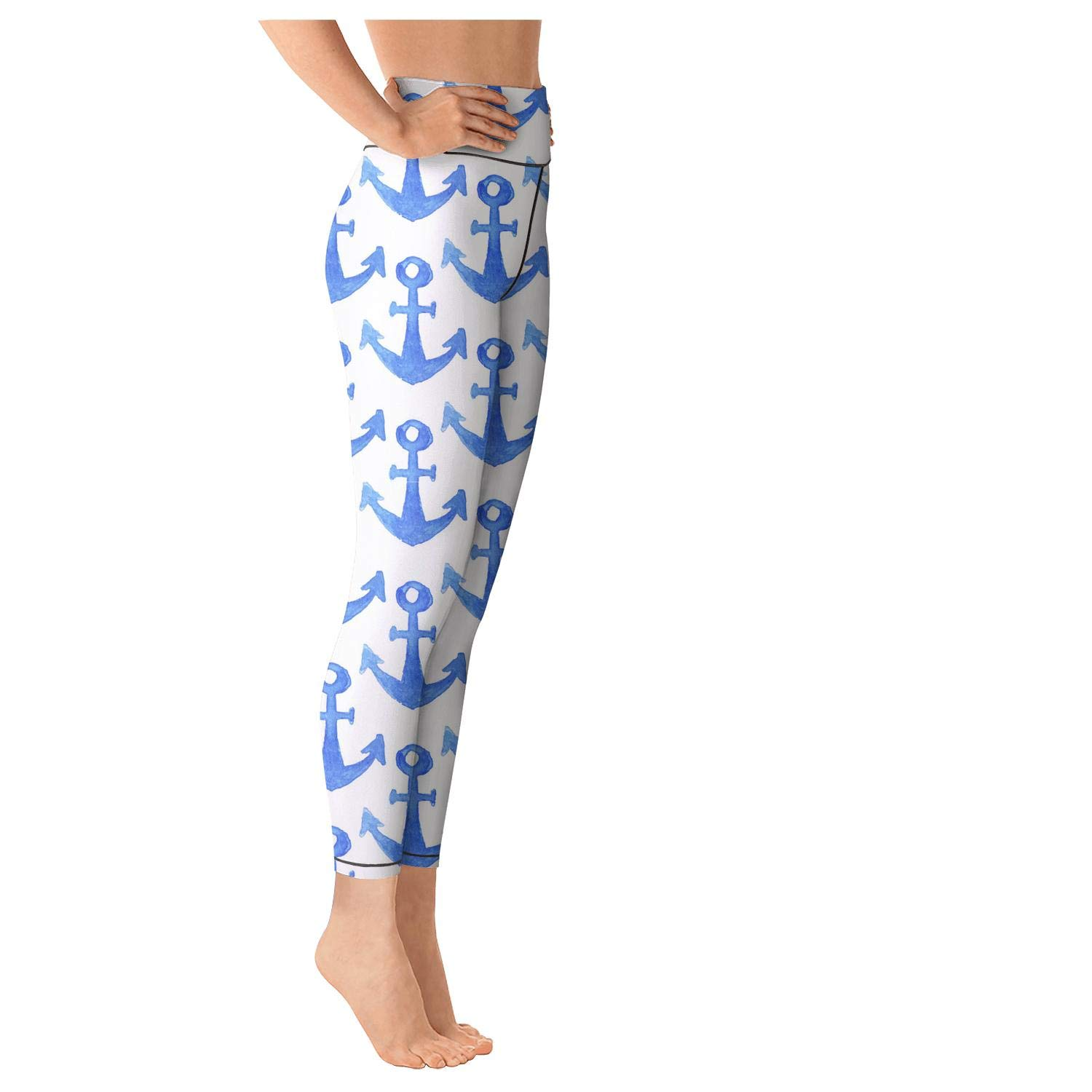 Blue Ship Anchor Workout Leggings Womens Athletic wear