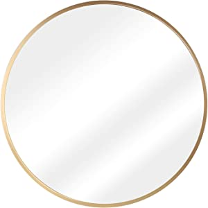 "Murrey Home 19.7"" Circle Wall Mirror, Gold Round Metal Framed Mirror Decorative for Entryways Bathroom Livingroom Bedroom Vanity Makeup, Wall Mounted Mirror and Wall Decor"
