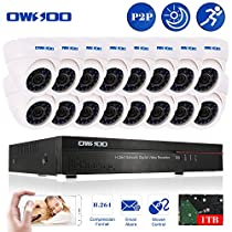 OWSOO 16CH CIF 1TB Hard Drive DVR with 16PCS Night Vision Built-in Waterproof IR LED Indoor 800TVL IR Cameras Surveillance CCTV Security Camera System - White