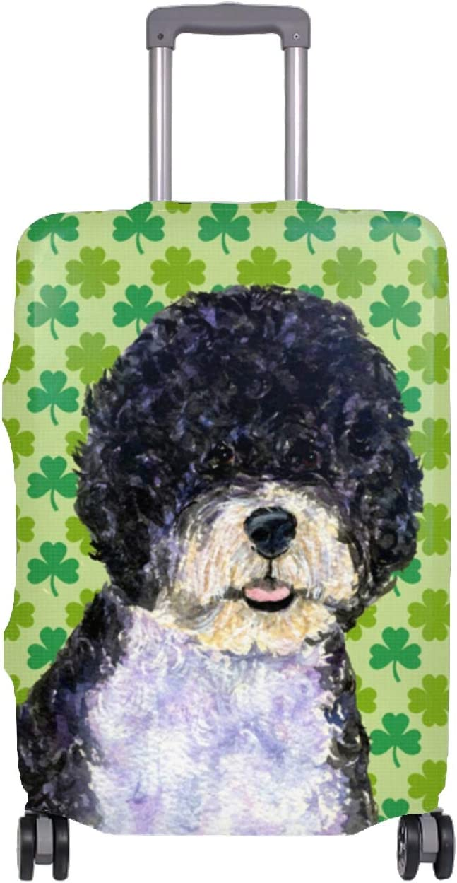 Dog St Patricks Day Travel Luggage Cover Spandex Suitcase Protector Washable Baggage Covers