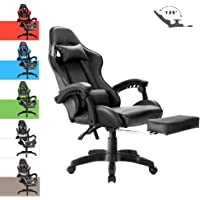 Advwin Gaming Chair Racing Style, Ergonomic Design with Footrest Reclining Executive Computer Office Chair, Relieve Fatigue Black (65 * 65 * 127-135cm)