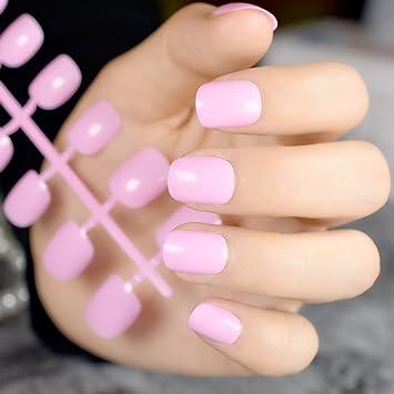 Brillantes uñas de color rosa para bebé, uñas postizas cortas y ...