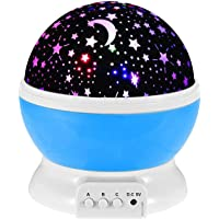 Baby Night Light Moon Star Projector 360 Degree Rotation - 4 LED Bulbs 9 Light Color Changing with USB Cable, Unique…