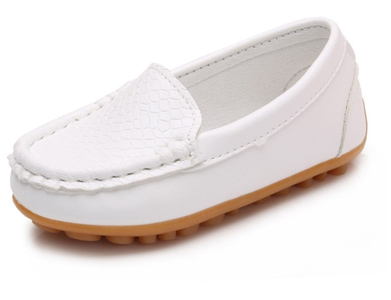Toddler Boys Girls Leather Loafers Slip On Boat Dress Shoes Flat (10 M US Toddler, White)