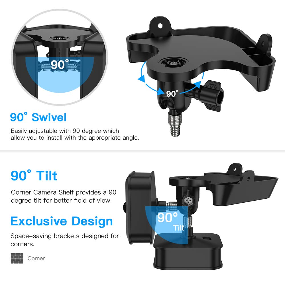 OWSOO Eckhalterung Wandhalterung Monitor Kamera Eckhalterung Verstellbare Halterung Unter Stil 1//4 Schraube f/ür Blink XT Blink XT2 Kamera und Blink Indoor Kamera