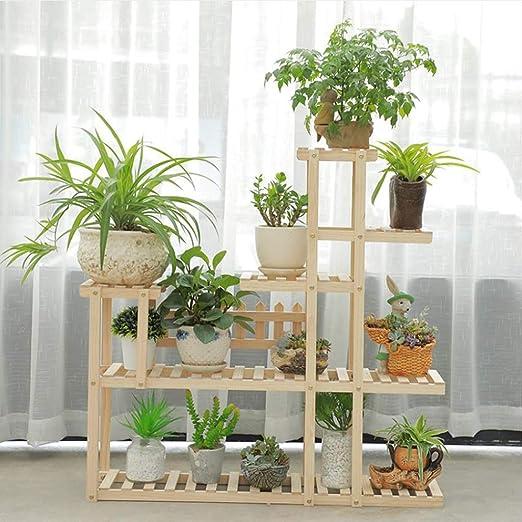 Dsrgwe Escalera para Flores, Planta de Madera Flor Bonsai Macetas Estante de exhibición Estante para el jardín Patio Esquina Decoración Interior y Exterior: Amazon.es: Hogar