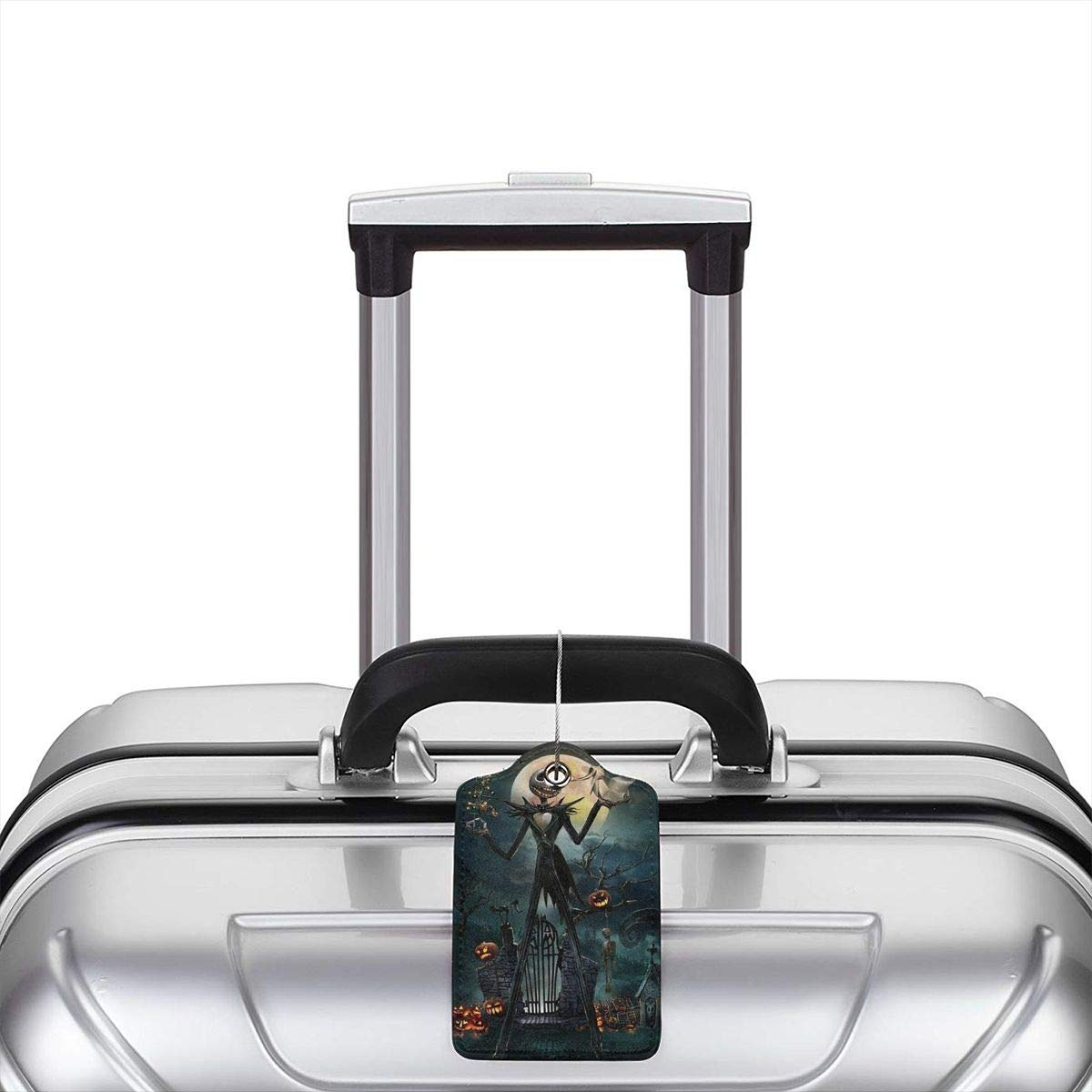 Suit For Travel,Vacation Fashion Jack Skellington Xmas Soft Leather Luggage Tags With Privacy Cover 1-4 Pcs Choose