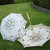 Mini Chic Lace Umbrella Parasol White Embroidery Handmade Sun Umbrella Costume Accessories Wedding Party Decoration Photo Props for Bridal Girls Kids (Beige)