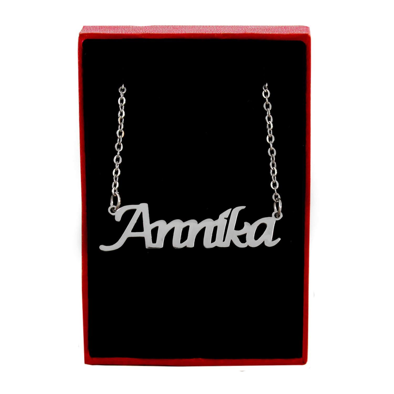 Kigu Annika Custom Name Necklace Personalized Silver Tone