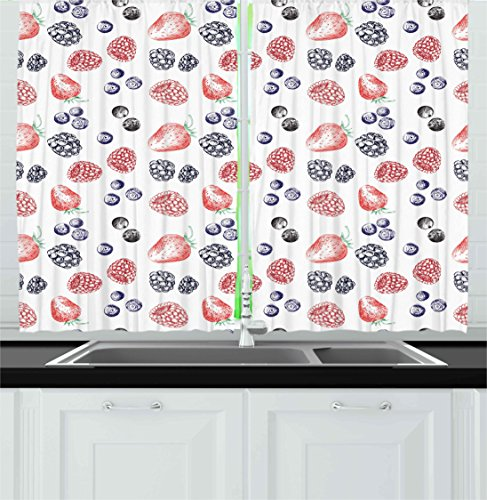 ... Modern Kitchen Curtains By Ambesonne, Cute Fruit Figures Strawberry  Blueberry Raspberry Doodle Style Illustration,