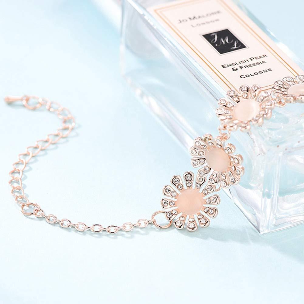 Pinksee Rhinestone Opal Bracelets Butterfly Flower Round Adjustable Bracelet for Women Girl