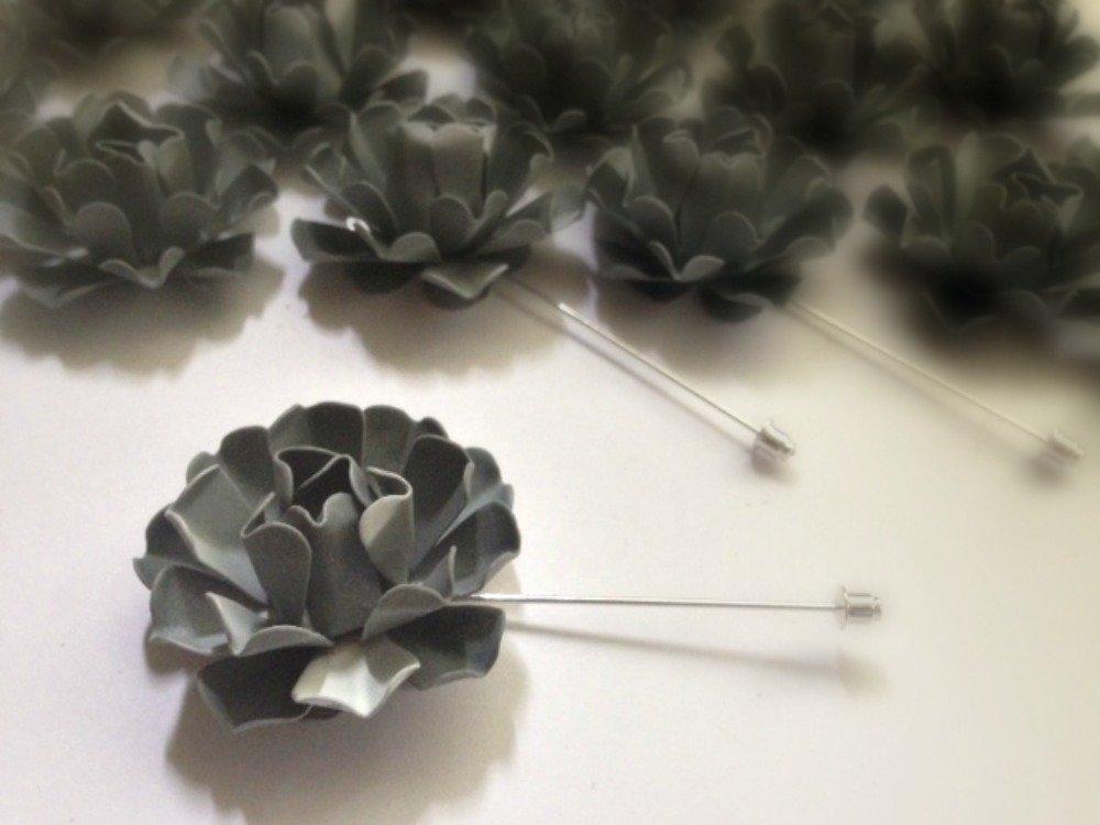 50s Style Gray Metal Enamel Flower Lapel Pin Bone Rosette