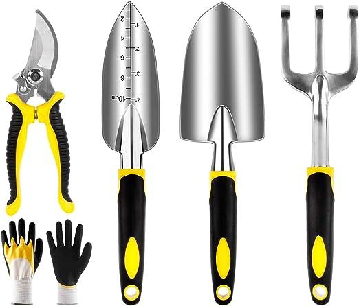 Yaobluesea Juego de 5 herramientas de jardín, herramientas de jardín, set de aleación de aluminio, herramientas de jardín con paleta, máquina de plantar, rastrillo, pala, tenedor de malas hierbas: Amazon.es: Jardín