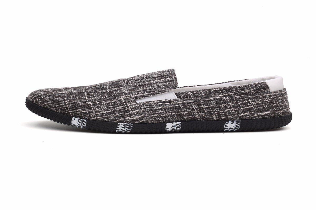 KMJBS-Zapatos De Hombre Zapatos De Lona Casual De Primavera Verano De Granos Lino Cuarenta Y Tres Black Forty-three|black
