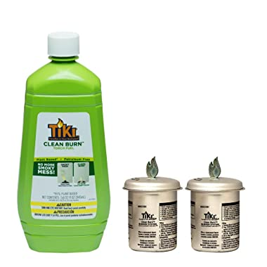 TIKI (2) Clean Burn Firepiece Roundwick Burner System Replacement for Small Table Torch Plus 32 oz. Clean Burn Fuel