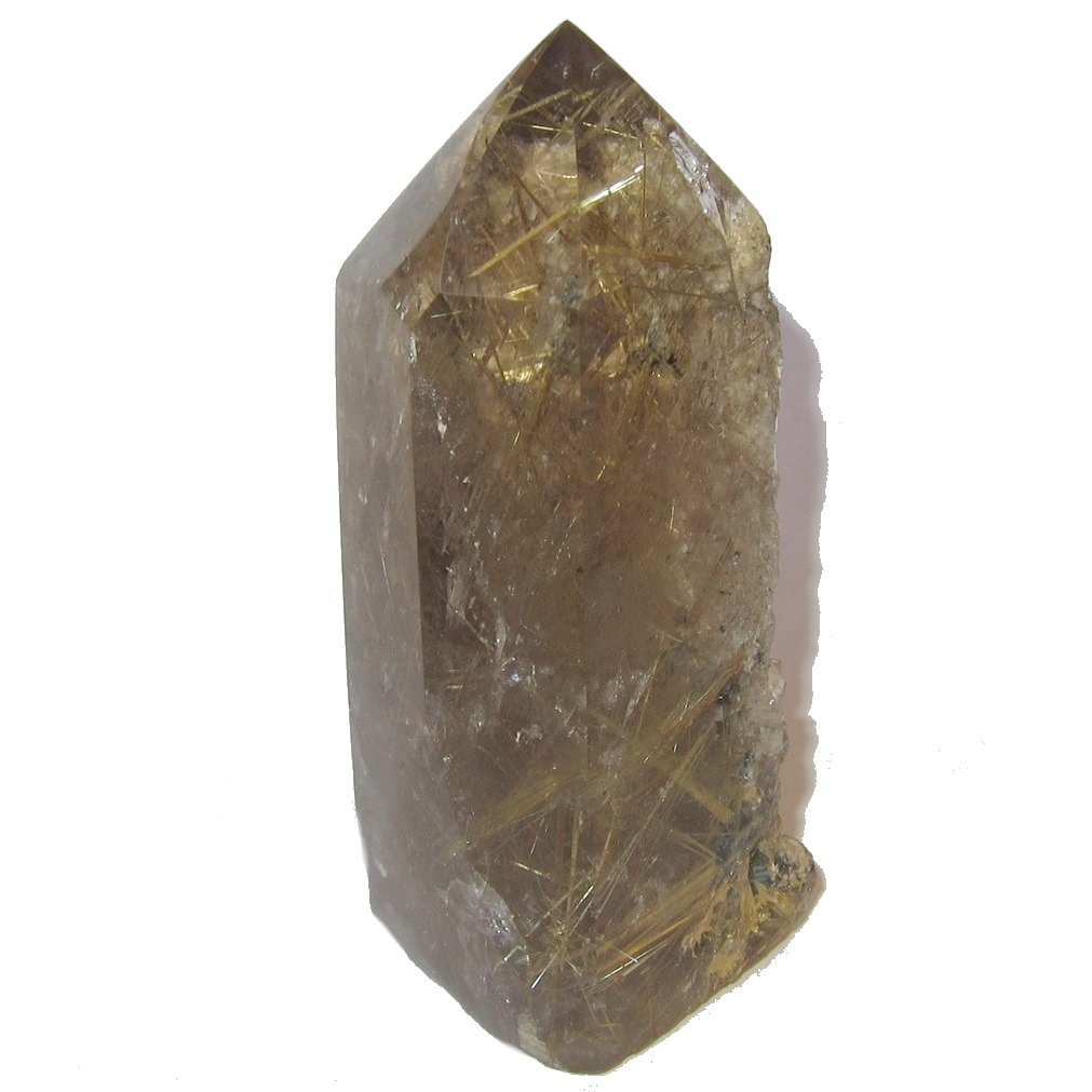 Satin Crystals Quartz Rutilated Wand Tower Collectible Clear Smoky Gold Thread Rocky Point Precious Stone C01 (3.5 Inches)