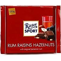德国进口 RitterSport瑞特斯波德 运动巧克力 朗姆酒榛子葡萄干夹心味牛奶巧克力100g排块