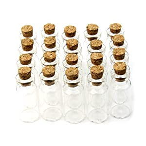 RHX New Wholesale 20 pcs 2ml 16x35mm Small Tiny Clear Wedding Birthday Wish Glass Bottle Vial with Cork