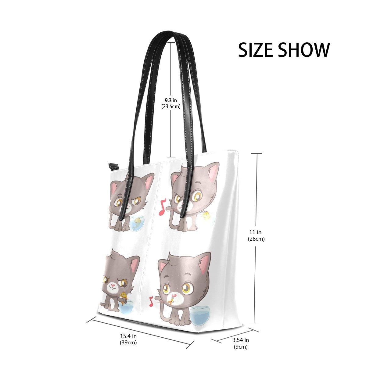 Womens Leather Top Handle Shoulder Handbag Gray Cats Large Work Tote Bag