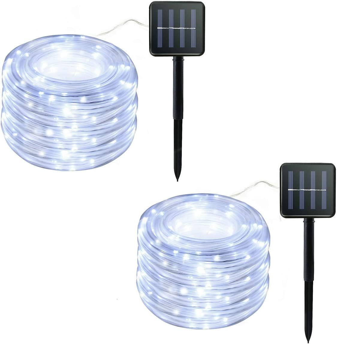 MINGZHE Solar Rope String Lights,50LED Waterproof Copper Wire Lights Tube 23ft, Outdoor Rope Lights for Christmas Garden Yard Path Fence Tree Wedding Party (2Pack)