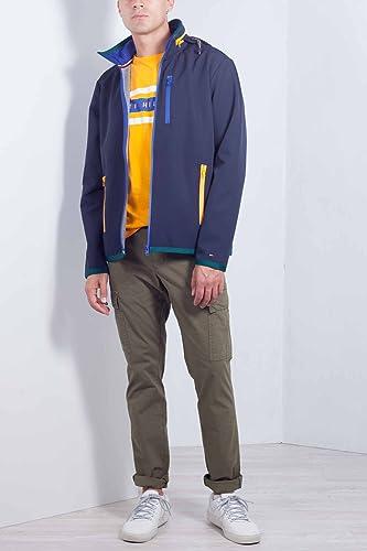 Tommy Hilfiger Uomo - Giubbotto Tecnico in Nylon Blu con Zip Taglia S   Amazon.it  Abbigliamento 4bd3802751d