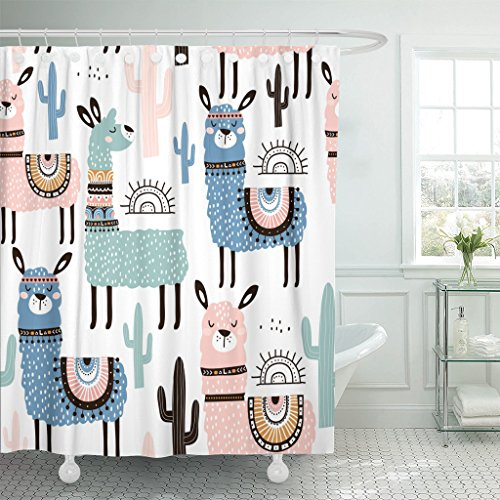 Emvency Shower Curtain Pattern Llama Cactus and Creative Childish Great Alpaca Cute Waterproof Polyester Fabric 60 x 72 inches Set with Hooks