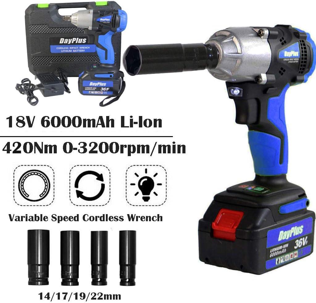 Richtungssteuerung und Trigger mit variabler Geschwindigkeit sowie LED-Arbeitsleuchte Inc 420 Nm High Torque Akku-Drehschlagschrauber 1//2 Zoll mit 6,0 Ah Li-Ion 18 V-Akku