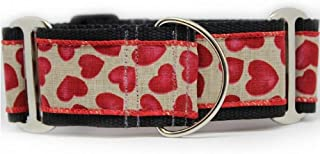 "product image for Diva-Dog 'Humble Hearts' 2"" Extra Wide Martingale Dog Collar"