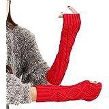 E Support™ Warm Hemp Fingerless Knitted Long Gloves Mittens for women men Winter Fashion Arm Glove
