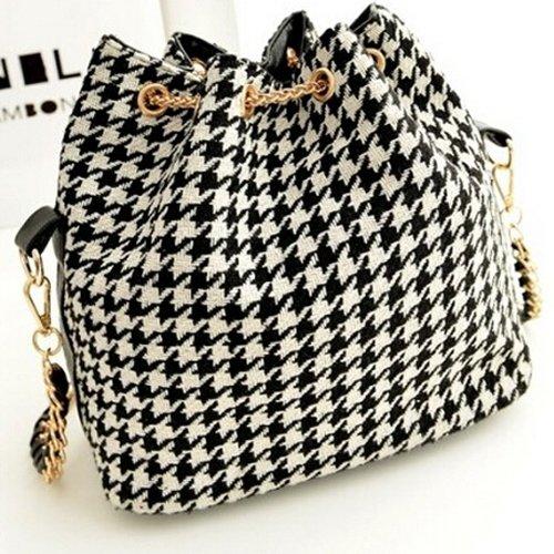 TOOGOO(R) messaggero del sacchetto di spalla delle donne della rappezzatura della tela di canapa della borsa del secchio delle catene Borsa - Griglia in bianco e nero