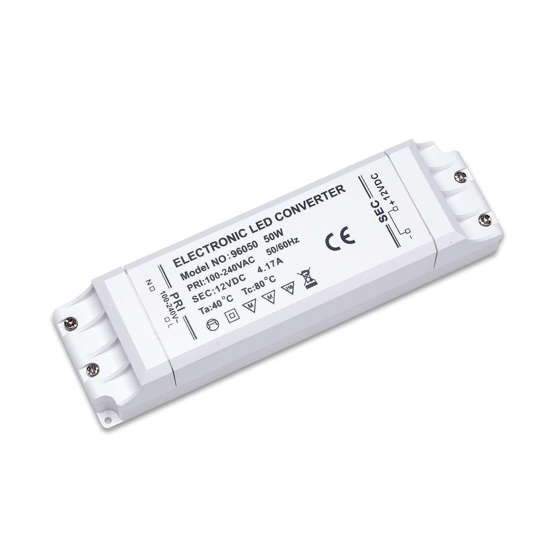 Yafido Transformateur 220V 12V Adapteur Alimentation LED 50W Convertisseur 1.25A DC Transfor pour MR16 MR11 G4 Band de Lumiere