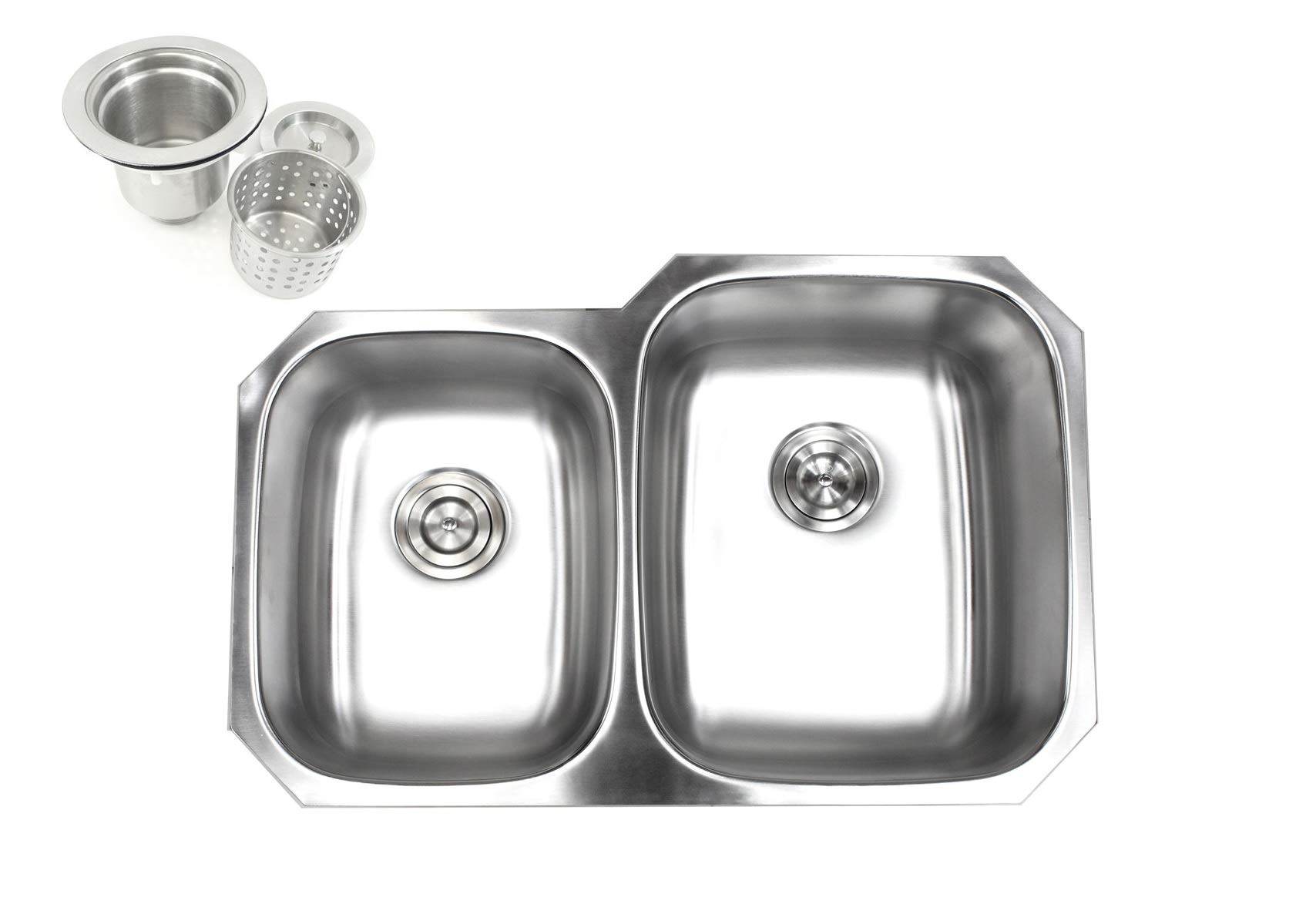 Kingsman 32 inch 18 Gauge Stainless Steel Undermount Double Bowl (40/60) Kitchen Sink (Sink with Strainer) by KH KINGSMAN HARDWARE (Image #1)