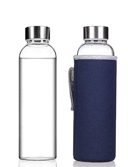 HMILYDYK Glass Drinking Bottle Stylish Portable Water Bottles 360ml 12.6oz d66cd74c6dc0